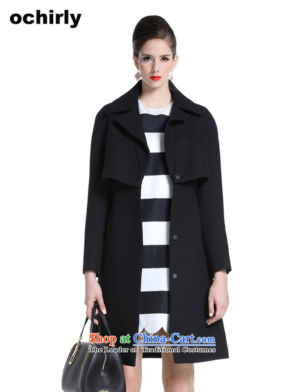 The new Europe, ochirly women leave two lapel long loose hair? overcoat 1143343050 Black Xs(155/80a) 090
