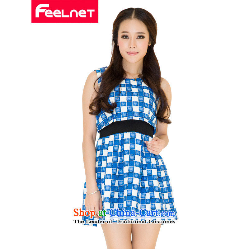 Install the latest autumn and winter feelnet2015_ thick mm spring dresses and a big western Korean women's code graphics thin dresses 1473 large blue code 4XL