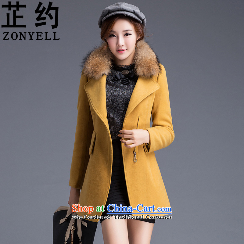 The cycle of hair growth in female long coat? jacket, warm Nagymaros ZYQ1020 LED (Yellow) L
