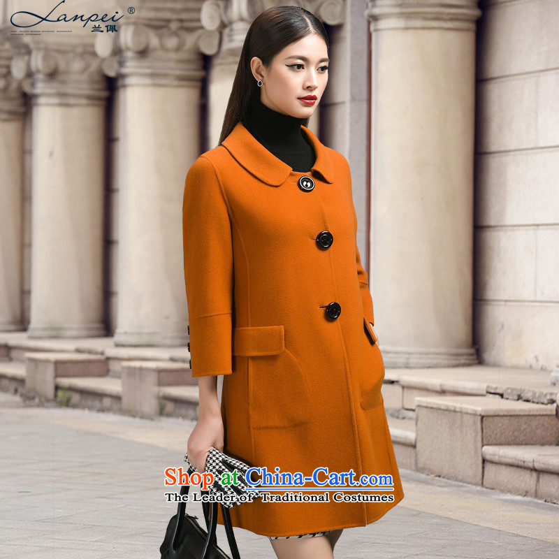 Ho Pui 2014 Fall/Winter Collections in the new long hair? jacket coat women throughout the wool?-sided flannel woolen coat female orange L