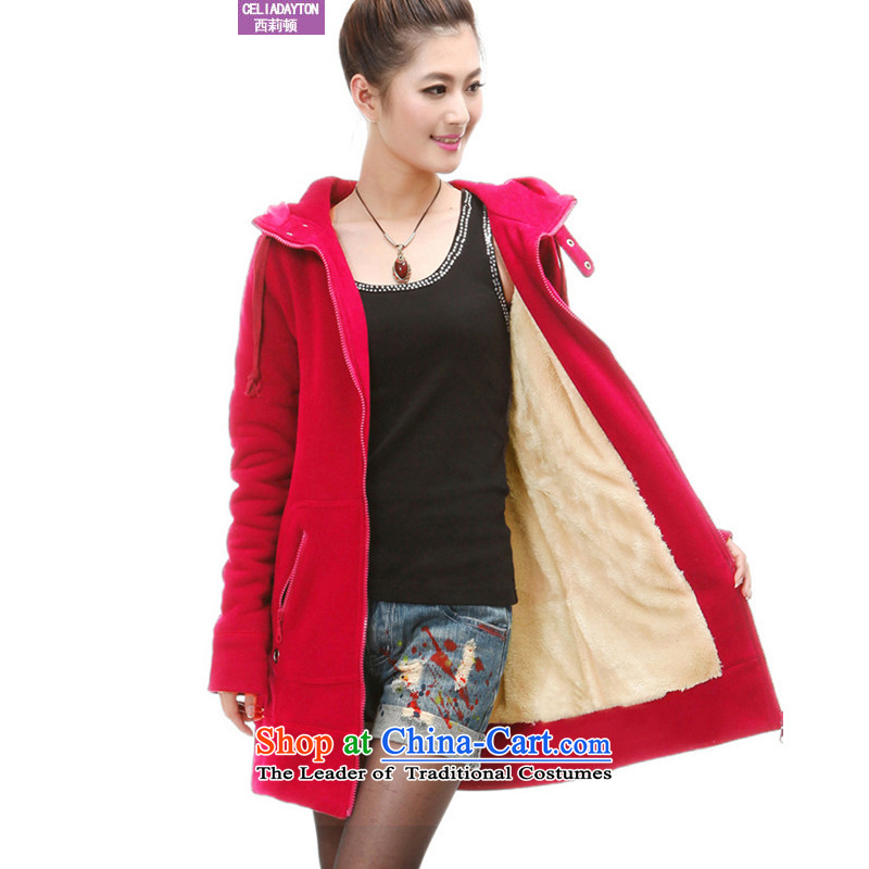 Szili Clinton larger women 2015 new fat mm Fall_Winter Collections thick Korean long hair sleeve jacket to warm relaxd the increase lint-free sweater燲XXXL red