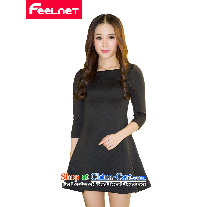 Install spring and summer feelnet2015 new thick mm female Korean version and a big western code women video thin dresses 1487 Black Large 6XL code