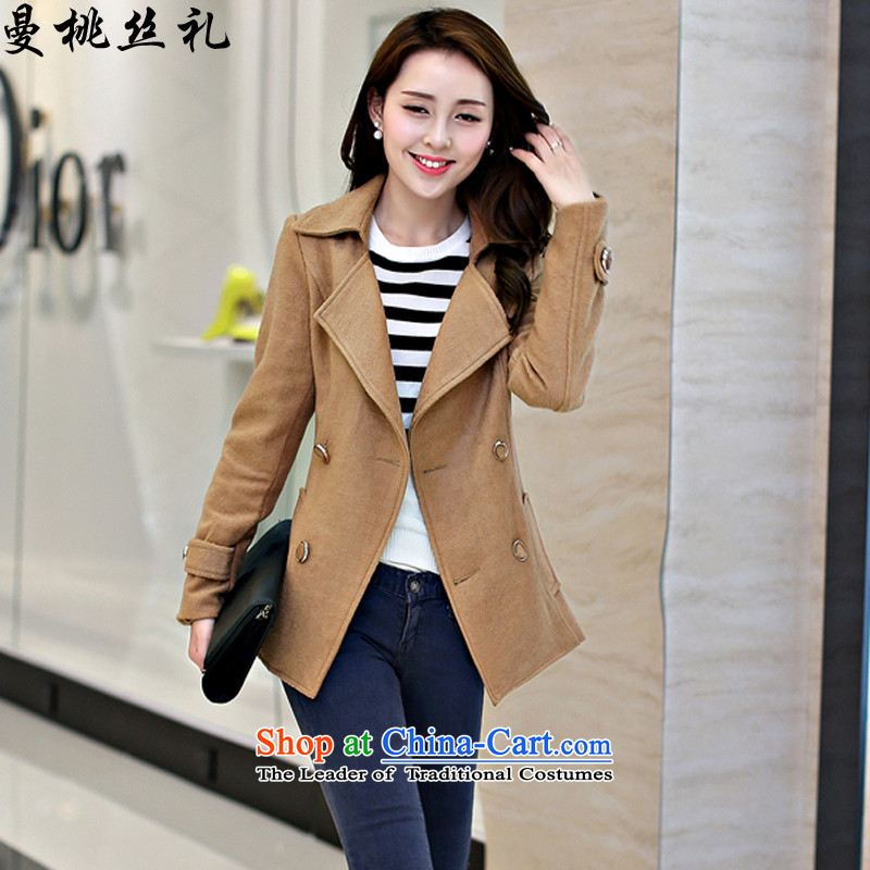 Cayman commercial population Ceremony 2015 autumn and winter jackets new stylish long-sleeved Sau San lapel gross large load short? double-hair? - Women's gross and color jacket?L