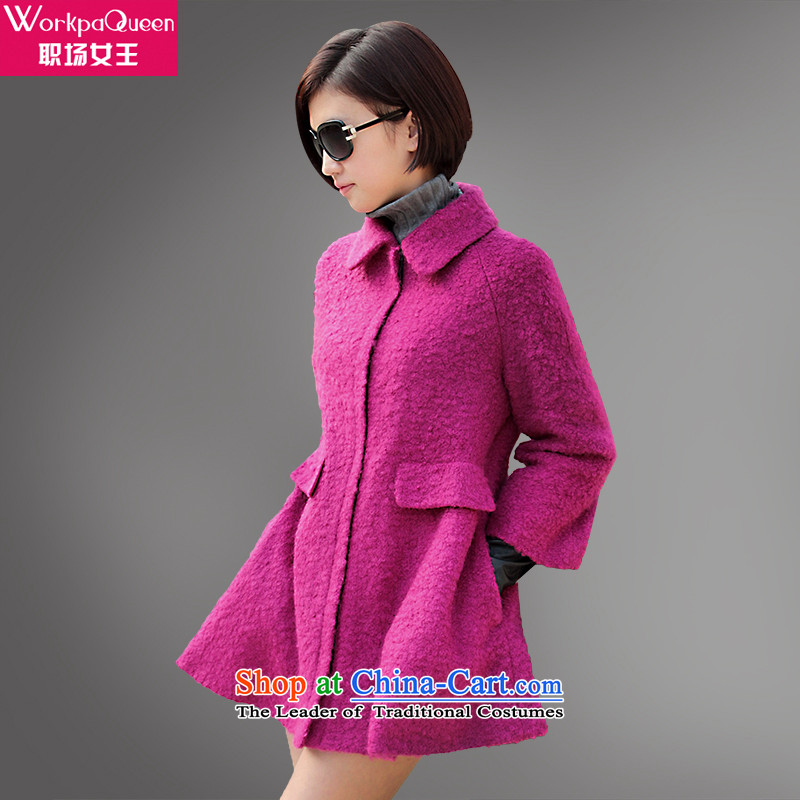 In the autumn of new products with queen coats female windbreaker dolls collar Cashmere wool coat female hair?? The Red Jacket XL