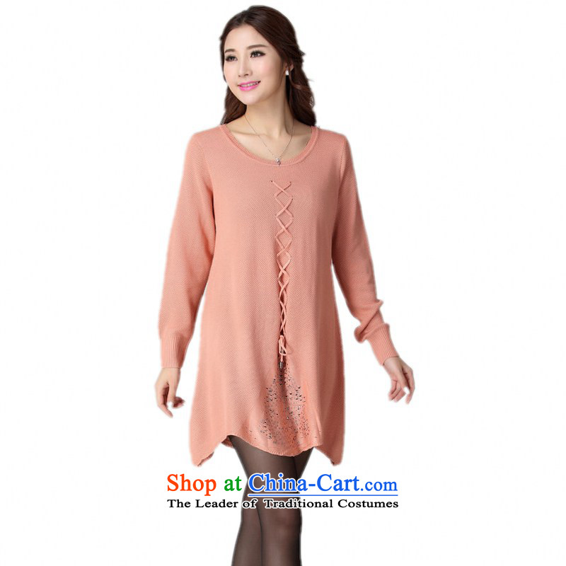 C.o.d. Package Mail 2015 Fall_Winter Collections of ladies' knitted dresses minimalist gentlewoman temperament long-sleeved sweater straps skirt wear skirt A Swing Cheongsams pink are approximately 130-190 burden code