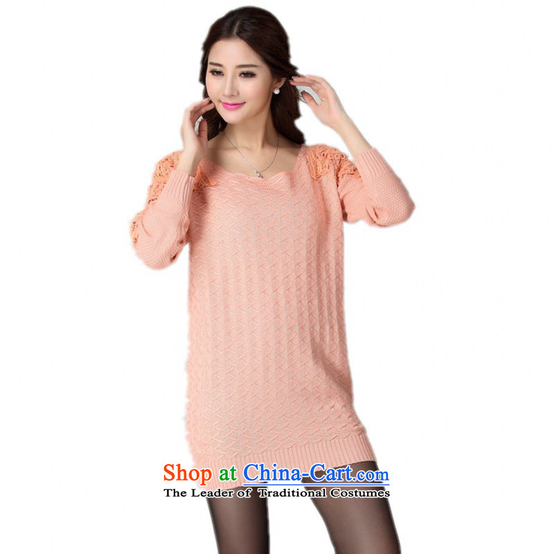 C.o.d. Package Mail 2015 Autumn replacing elegant ladies' knitted shirts lace stitching minimalist Sau San xl sweater sweater plaid solid color pink dresses are approximately 30-190 code catty