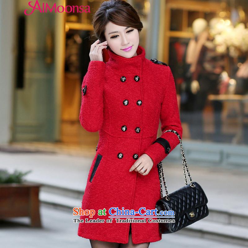 燣oad new women's aimoonsa gross coats female Korean? thick double-medium to long term, Sau San? lady gross jackets for winter coats sweet? red燲L