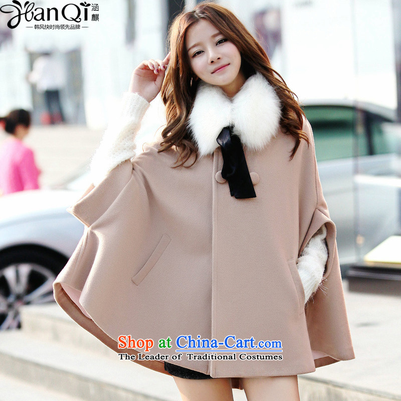 Covered by the 2014 autumn and winter-ki new coats, wool? long hair? solid color jacket cloak bat sleeves female apricot purchase to receive a limited number of gross M