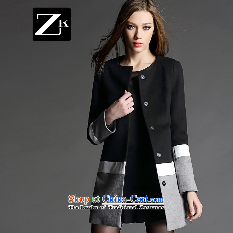 Zk flagship store 2015 Women's autumn and winter new gross? in Europe long coat small wind jacket gross is Heung-coats black M