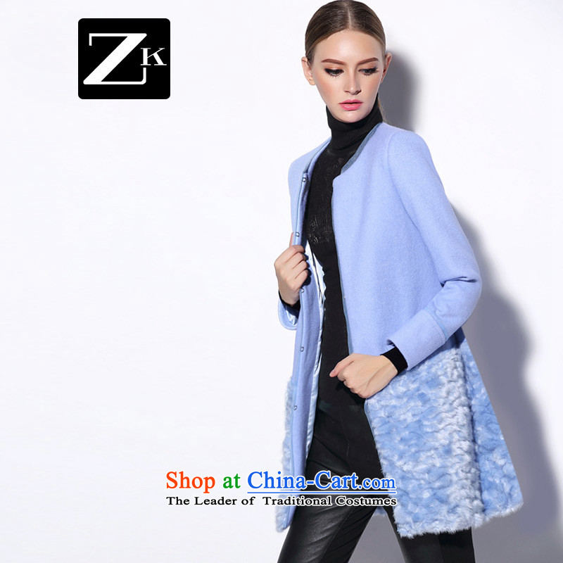 Zk flagship store 2014 autumn and winter female new gross? in Europe long coat small incense wind gross coats light blue M?