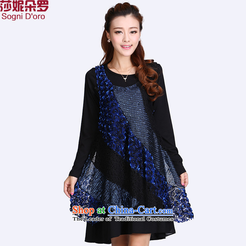 The latte macchiato, Shani to increase women's code thick mm autumn kit false two video thin thick sister dresses 8716 long-sleeved black6XL