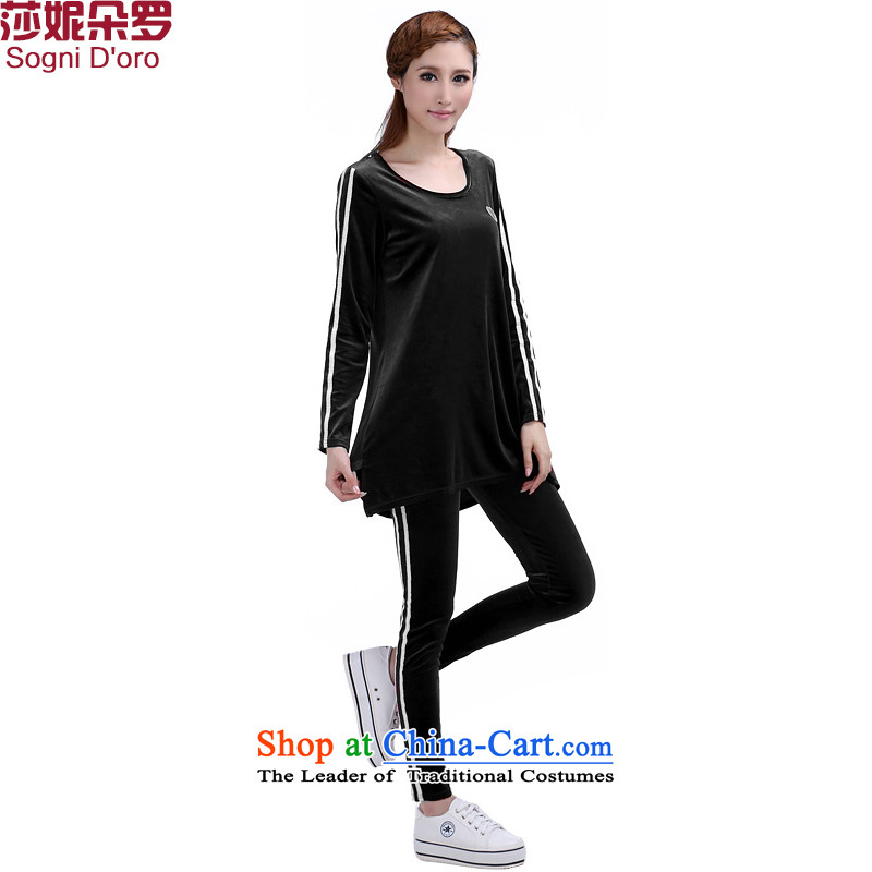 Luo Shani flower code women kit fat mm autumn and winter new scouring pads to xl graphics thin sports wear thick black 6364 T-shirt sister聽3XL