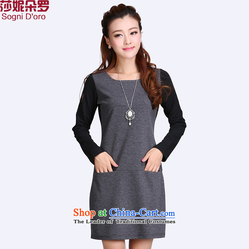 The fertilizer 200 catties shani flower Luo Code women thick mm autumn large Korean boxed long-sleeved video thin dresses annex 6628 6XL Light Gray