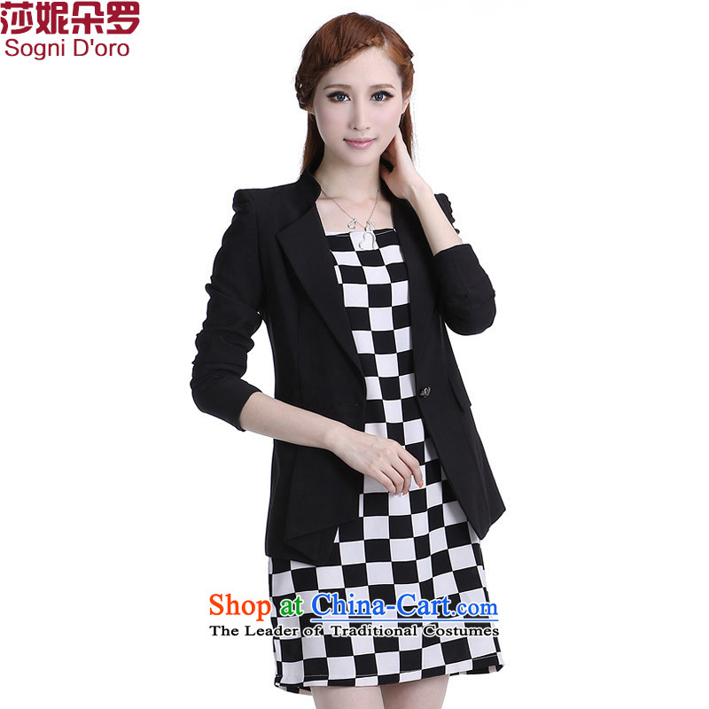 Shani flower, thick woman code female jackets thick mm load increase to autumn suits Korea video graphics and skinny black聽4XL- suit Female 6333 suits to large proposed a small code