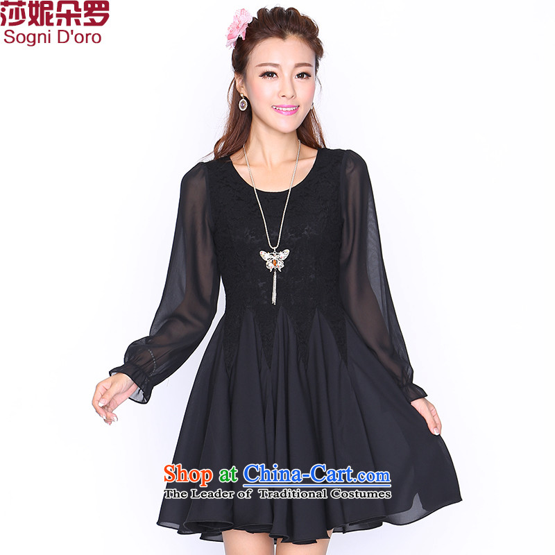 Shani Flower Lo 200 catties to increase women's code thick sister graphics load autumn long-sleeved expertise thin mm dresses chiffon 87234XL Black hot sales of new products