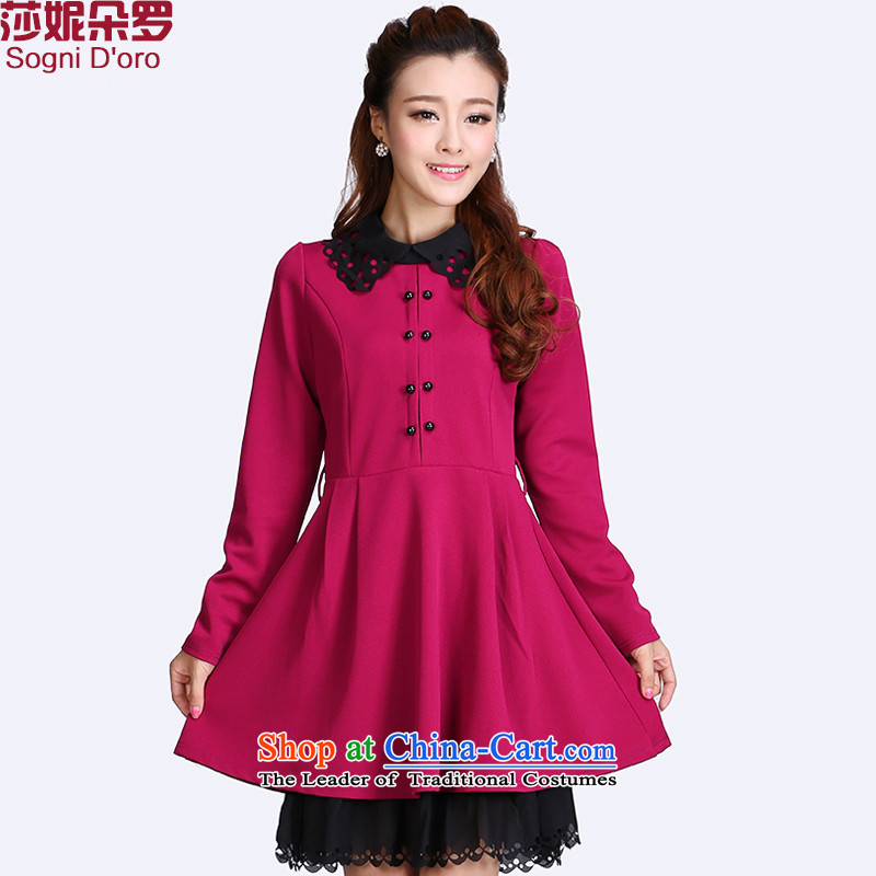 Thick mm plus hypertrophy code women early autumn 2014 new kit Korean long-sleeved for dolls dresses video thin coordinates 8711 Red聽2XL