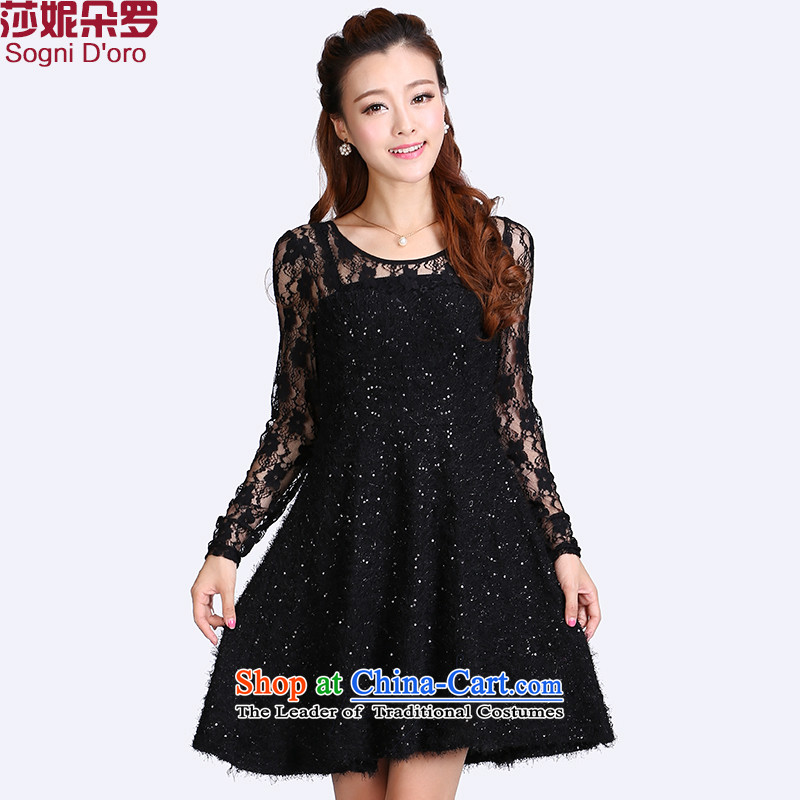 Extra Load autumn dresses 2015 mm thick sister thick 200 catties engraving plush video thin skirt long skirt 8717 Black 4XL