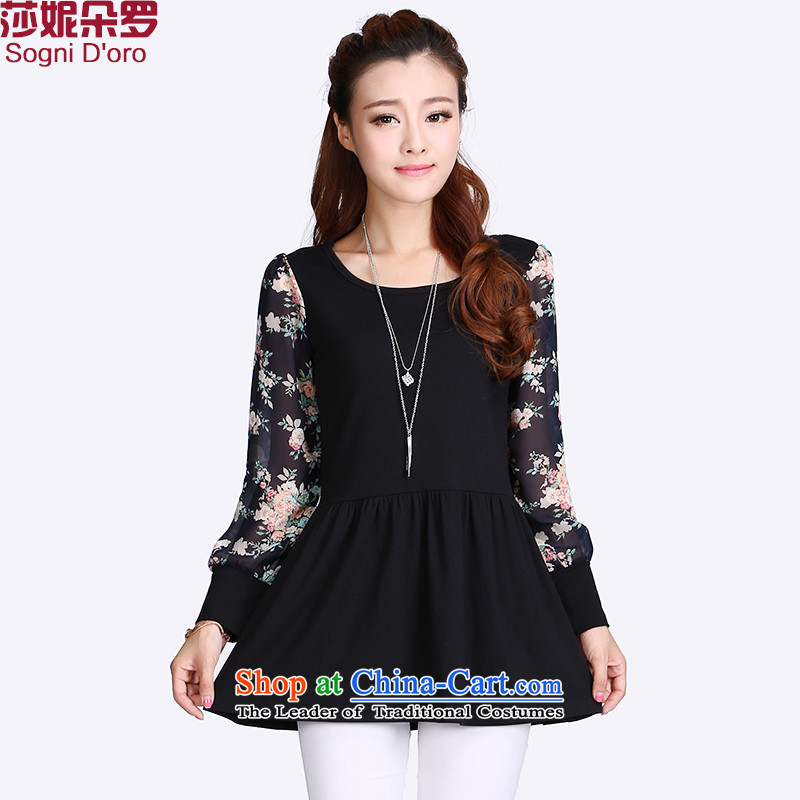 Thick mm larger women 2015 Summer new to xl thick, Hin thin tee shirt female 8704 Magic black?3XL_ spring new products_