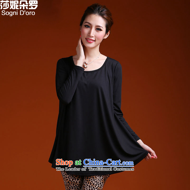 Shani flower of thick spring of new large women forming the Netherlands thick sister loose video thin tee shirt 9,930聽5XL black