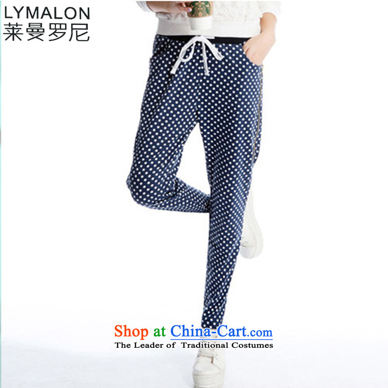 The lymalon lehmann autumn 2015 the new Korean version of large numbers of ladies in the streets of the Harlan wave point cotton trousers k812 forming the Blue Wave燲XXL point