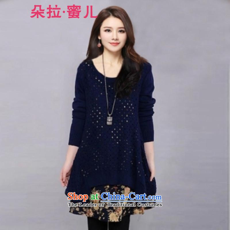 Mr. Flower honey-autumn 2015 women pregnant women with large relaxd Sweater Knit-cotton linen dress jacket two kits2040BlueM 741 Tibetan catty
