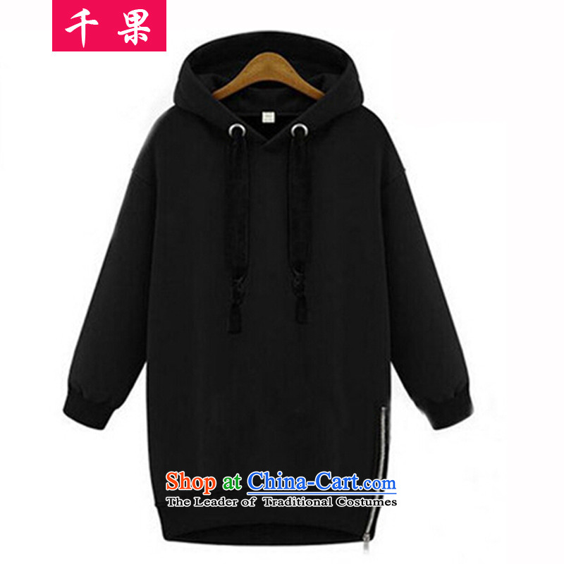 Thousands of燼utumn 2015 a new fruit of Western liberal cap sweater in MM thick long female video jacket thick MM to xl leisure sweater 651 Black�L