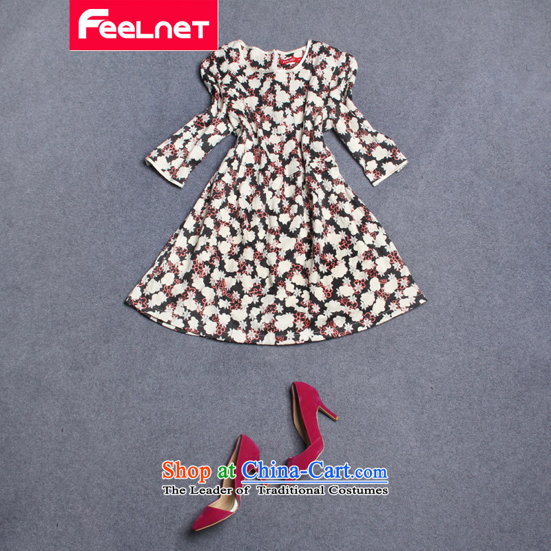 Install the latest autumn and winter feelnet2015, dresses female Korean western mm thick and a big number of female graphics thin dresses large black 5XL were 21.8