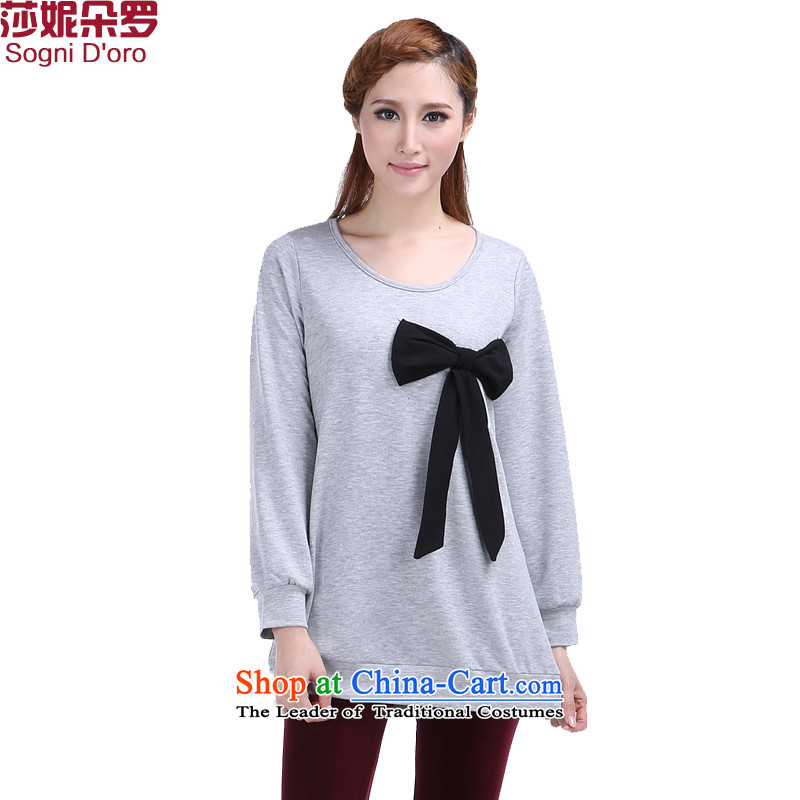Shani Flower Lo 200 catties larger women 2014 Autumn replace twine bow knot loose video slender long-sleeved T-shirt, 6370 Light Gray聽4XL