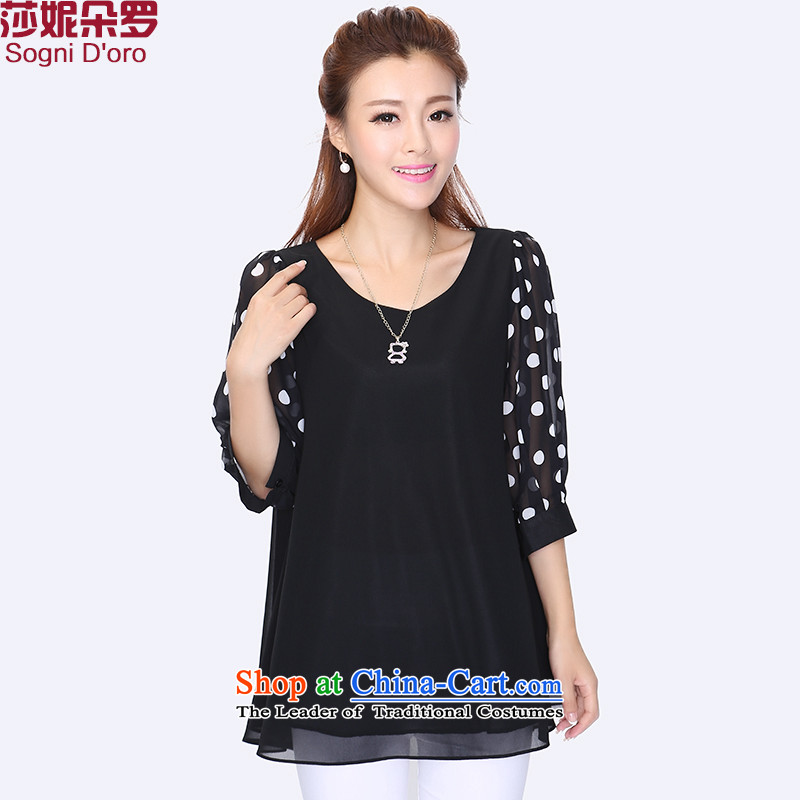 Shani Flower Lo 200 catties plus fertilizer extra-thick 2015 round-neck collar loose chiffon T-shirt with female clothes 8724 Autumn6XL black