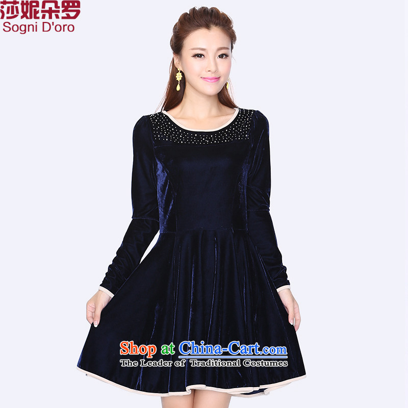 Shani flower, 200 mm thick sister catty thick 2014 large female ironing drill Kim Choo load velvet dresses pair 8728 Blue�L