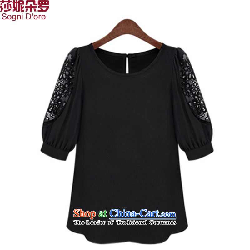 Shani flower, 2015 large European and American women thick sister summer to xl short-sleeved T-shirt relaxd clothes 4658 female black�L