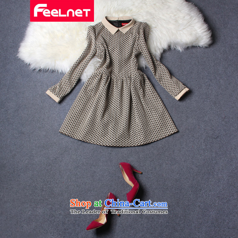 To increase the number feelnet women 2015 Autumn new Korean literature in Europe_ thick sister video thin xl dresses 2193 apricot larger 5XL