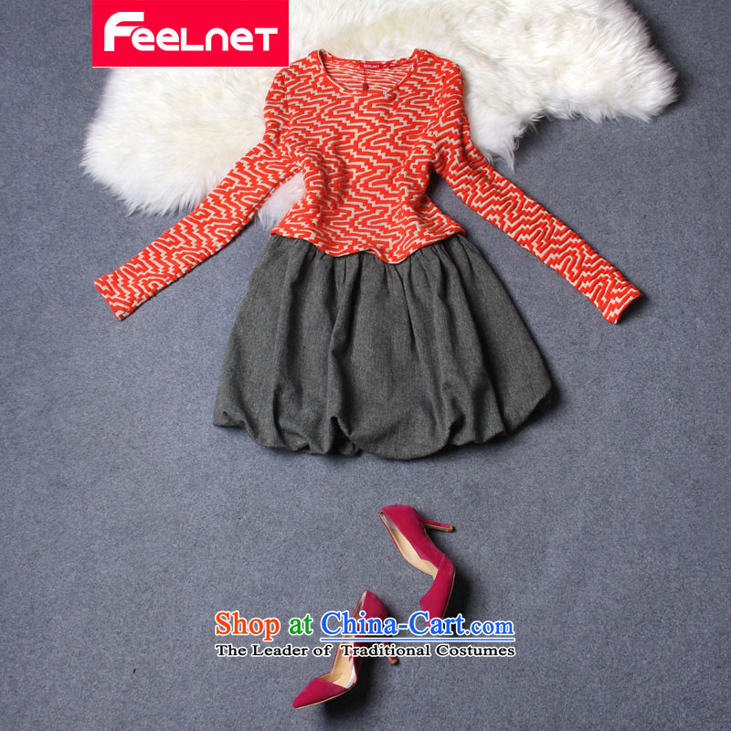Thick mm _ _ feelnet dresses 2015 Fall_Winter Collections new Korean literature in Europe for larger female graphics thin dresses 2207 orange larger 6XL