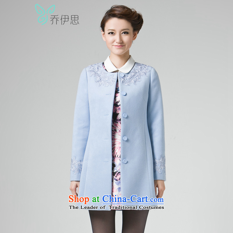 The League of Joe autumn and winter female lace stitching in Ms. long neck hair so Sau San jacket?JL442011?light blue?M