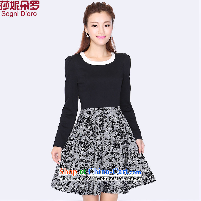 Shani flower lo xl women�0 catties king 2015 Autumn replacing new round-neck collar long-sleeved dresses�L 8735 Black