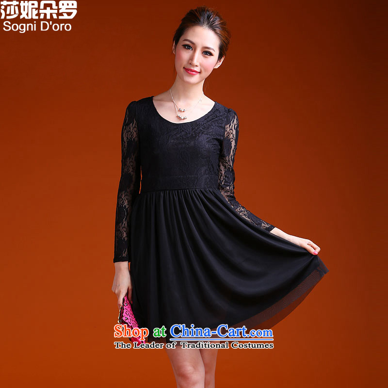 Luo xxxxl shani flower to the thick MM heavy code 2014 autumn and winter larger female dresses Foutune of 9929 thin black�L graphics
