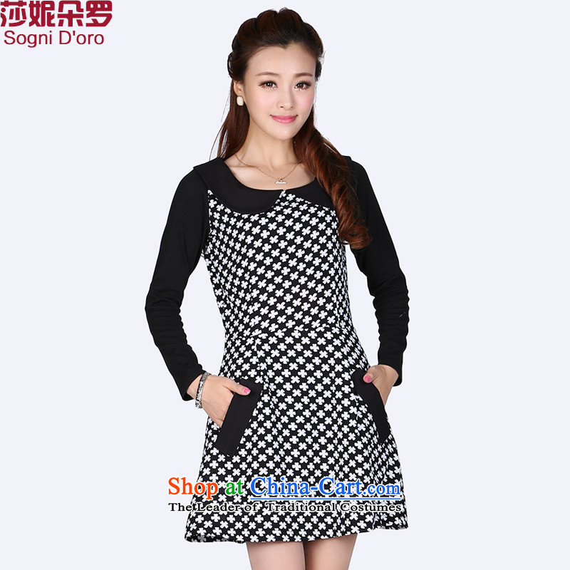 Shani flower lo xl women�0 catties king 2014 Autumn replacing new doll for long-sleeved dresses 6608 Black�L