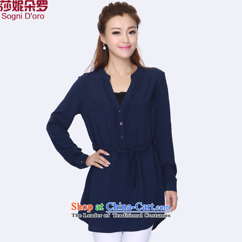 Shani flower lo xl female thick mm2014 autumn boxed version Korea V-Neck long-sleeved shirt_T-shirt 8736 Blue�L