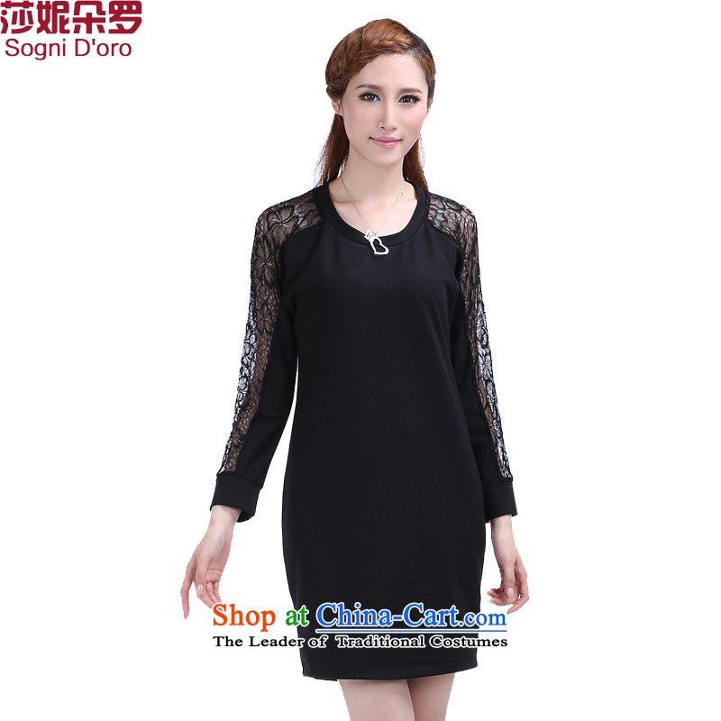 Shani flower lo xl women fall thick mm Korean Pack 2015 lace stitching graphics thin dresses 5XL 6358 Black