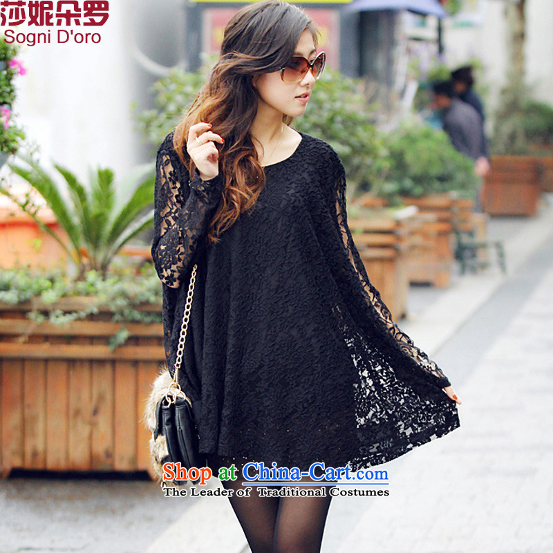 Shani flower lo xl female thick mm autumn boxed version of the new Korean engraving loose bat with lace T-shirt 4607th�L black