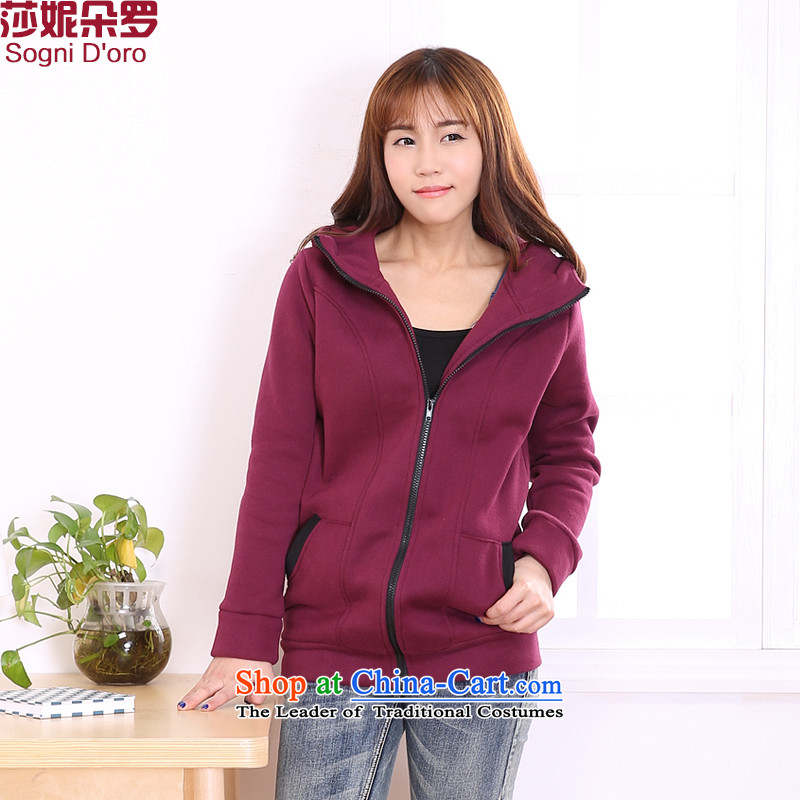 Shani Flower Lo 2014 XL female thick mm Fall_Winter Collections new Korean leisure movement loose cap sweater coat 6416 Red�L