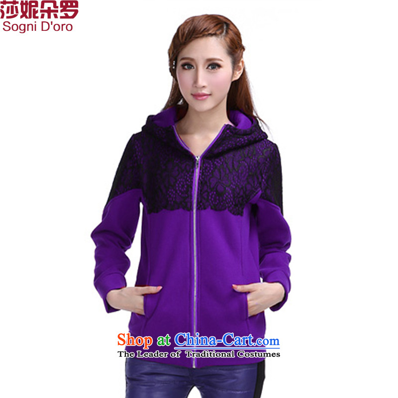 Shani flower, 2015 to increase the number of autumn jackets loose sports and leisure long thick mm sweater women 6390 purple�L