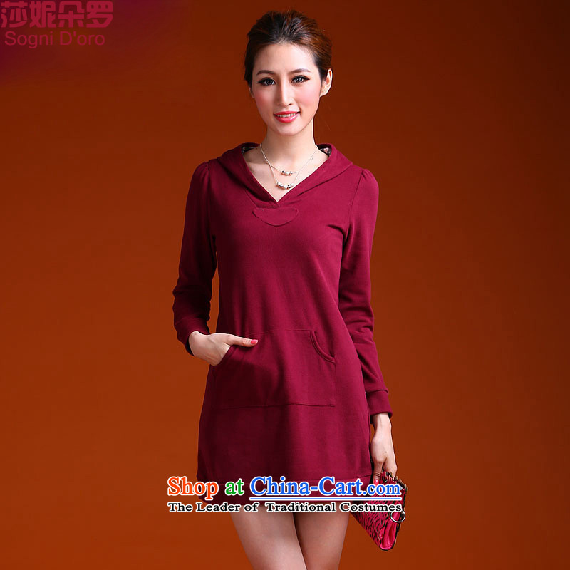 Luo xxxxxl2013 shani flower to increase women's sister mm thick thick 200 catties jacket sweater from 9,935 wine red2XL