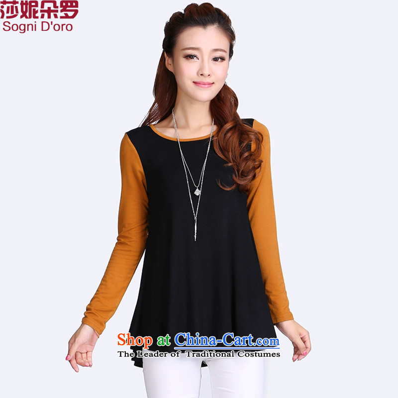 Luo Shani flower code women2014 new boxed version won spelling autumn simple round-neck collar video thin Foutune of T-shirt5XL 98.4 billion won under the black