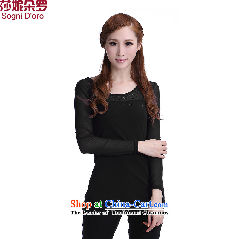 Luo Shani flower code Women Korean autumn to increase wear on the Netherlands thick mm autumn and winter new gauze Stretch video thin T-shirt long-sleeved shirt 6347 Black聽6XL
