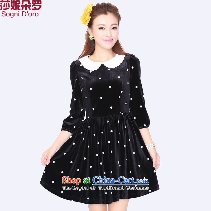 Shani Flower Lo 2015 XL dresses autumn and winter 200mm thick dolls for the burden of Sau San Korean Kim scouring pads long-sleeved video thin dress with a long-sleeved black - 8726�L