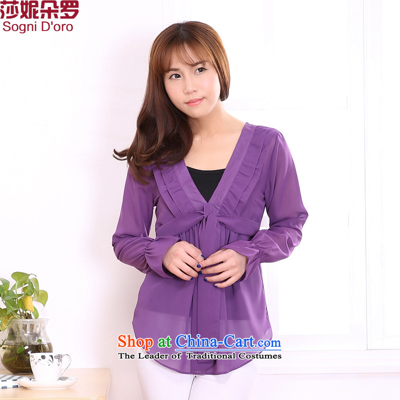Luo Shani flower code chiffon cardigan to XL T-shirts female loose coat 3230 purple4XL