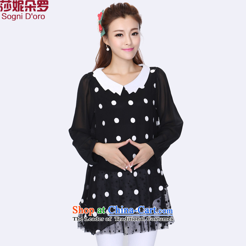 Luo Shani flower code women thick mm autumn replacing the new 2014 false two chiffon dot patterns 8739 Black 3XL Shirt