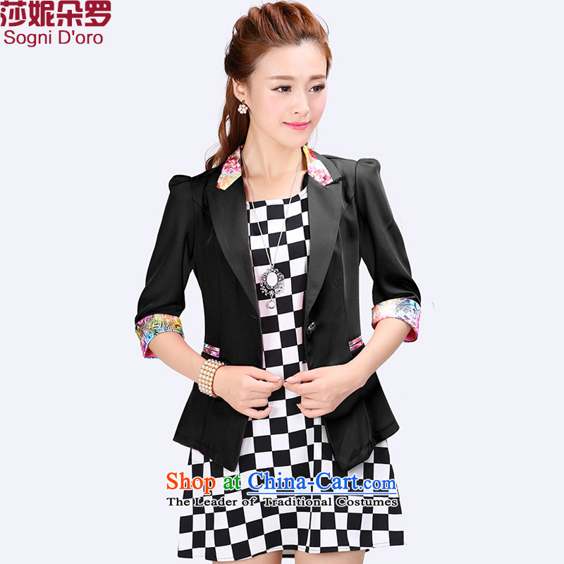 Luo Shani flower girl jackets expertise code sister summer to XL Graphics thin small suit 6784 Black�L