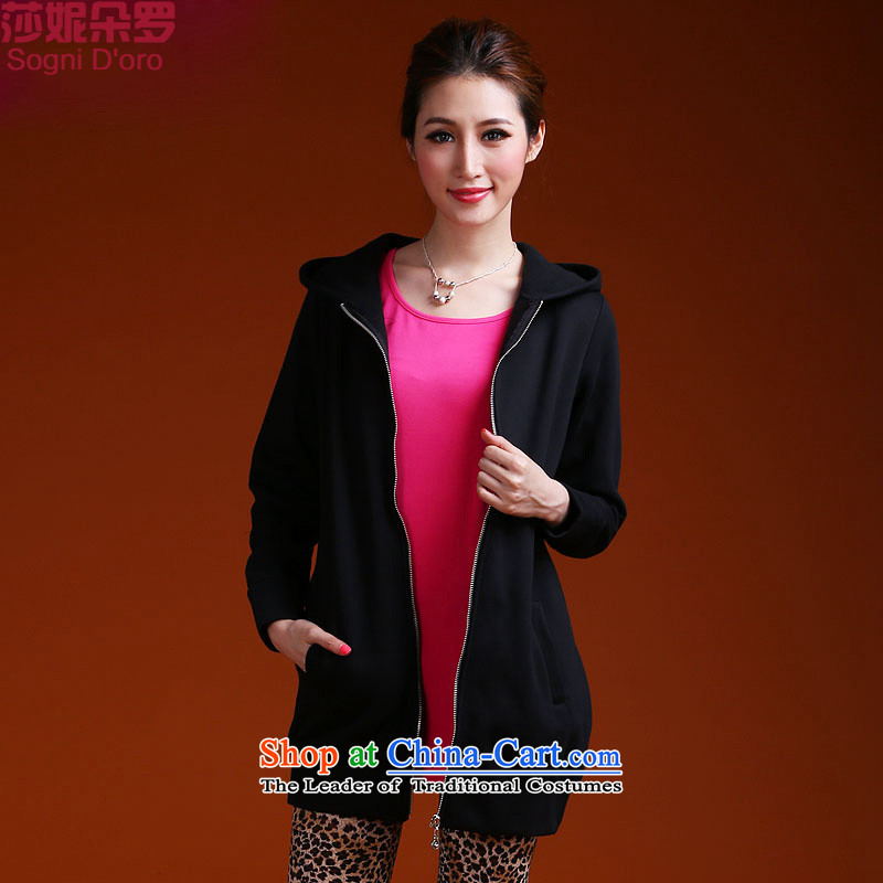 Luo Shani flower code women 2015 Fall_Winter Collections thick movement adjustable hood sweater female thick sister jacket long 9952 Black?4XL